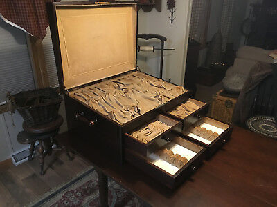 LARGE ANTIQUE WOOD LOCKING DRAWERS SILVERWARE/JEWELRY/COIN DISPLAY CABINET w/LID