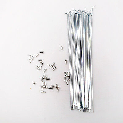 36pcs Alloy Steel Spokes Spoke Pins Needle Bike Bicycle Cycling 260mm w/Nipples