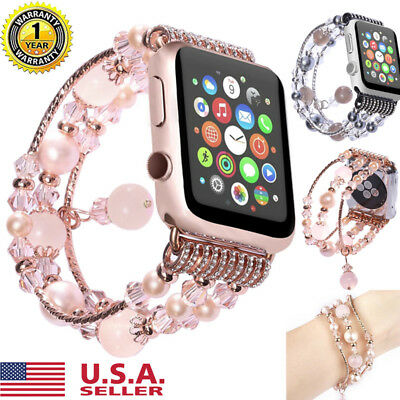 Pearl Bling Agate Beads Watch Band For Apple iWatch 3/2/1 Strap Bracelet 38 42mm