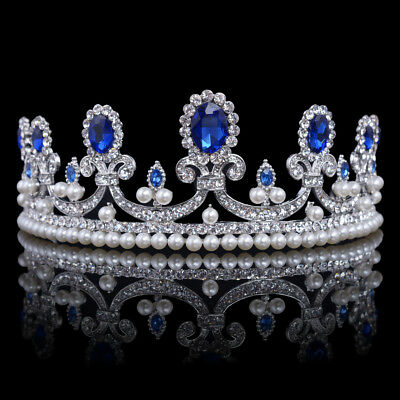 Blue Crystal Rhinestone Bridal Tiara Princess Pearls Crown Prom Headband USA
