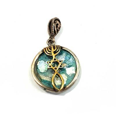 Grafted In silver & gold plated 24k pendant Roman Glass Messianic Jerusalem