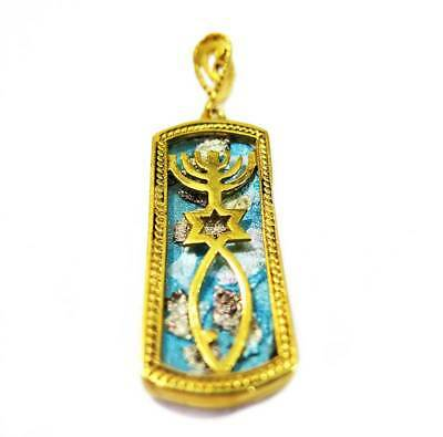 Grafted In gold plated 24k pendant Roman Glass Messianic Jerusalem holyland