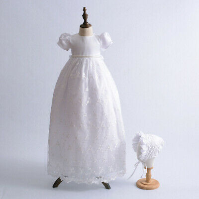 Gorgeous Beaded Embroidery Christening Dress Baby Lace Baptism Gown 3-9 Months