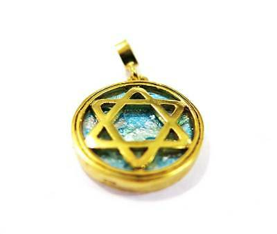 Star of David &Roman Glass gold plated 24k pendant Jerusalem holyland made