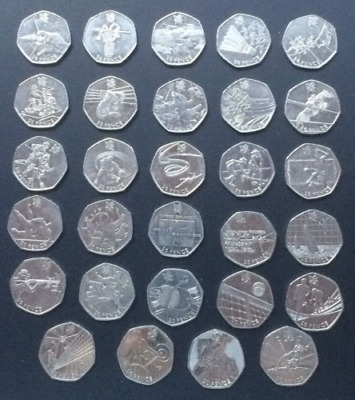 *RARE* Complete Full  Set Of London 2012 Olympic 50p Coins - 29 Coins FOOTBALL