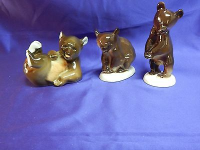 Vintage Russian Imperial Lomonosov Porcelain Figurine Three brown bears