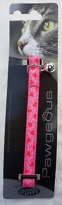 Valentines Cat Collar Safety Clip Cat Collar With Pink Hearts & Bell