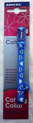 Valentines Cat Collar Safety Clip Blue Cat Collar With White Hearts & Bell