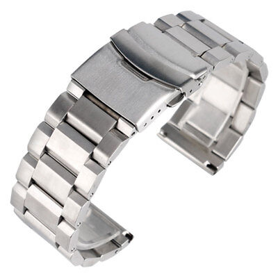 High Quality Silver Bracelet Solid Stainless Steel Watch Band 18mm 20mm 22mm ...