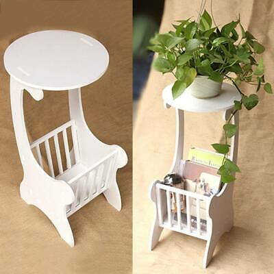 Druble White Wooden Chic Side Lamp Small Round Coffee Table Magzine Rack Bedroom