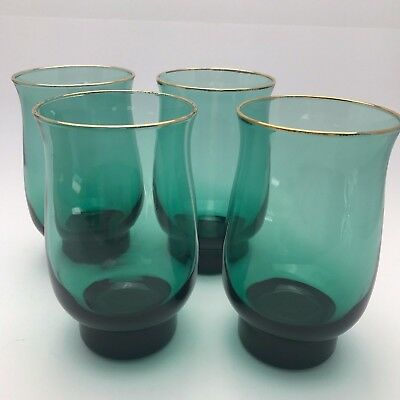 4 Vintage Arby's Libbey Glasses Tumbler Green Christmas Gold Holiday 1980's