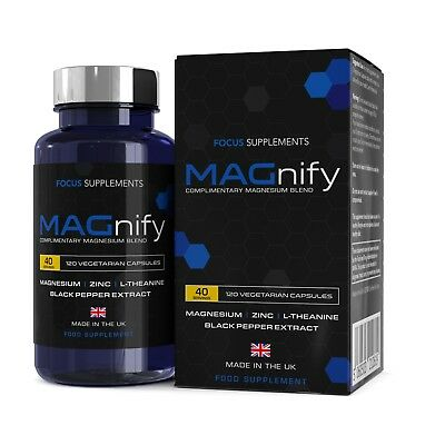 MAGnify Magnesium Blend | 120 Capsules | Glycinate, Taurate, L-Theanine, Zinc. .