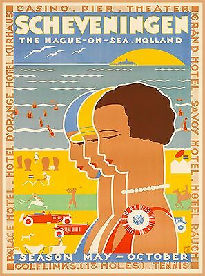 Scheveningen Holland Dutch Netherlands Vintage Travel Advertisement Poster