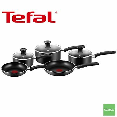 Tefal Essential Cookware Pot Frying Pan Saucepan Set Thermospot Durabase, 5 Pack
