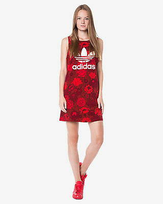 2016Adidas Originals Red Floral Print TREFOIL TANK DRESS AJ7958 sz XS-M