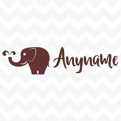 Elephant personalised custom name vinyl sticker wall door mirror nursery car