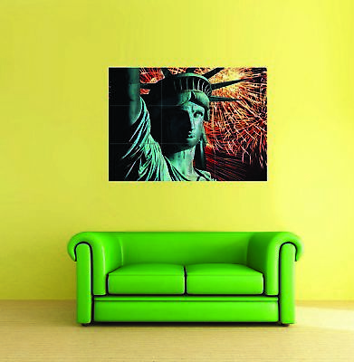 Statue Of Liberty Fireworks 4th July Giant Poster