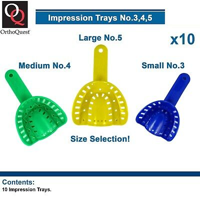10 OrthoQuest Dental Impression Plastic Trays Model Orthodontic Size Selection