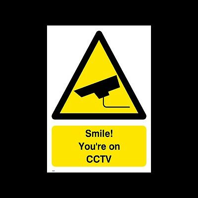 Smile - You're on CCTV - Plastic A4 (200x300mm) Sign - Security, Camera (S25)