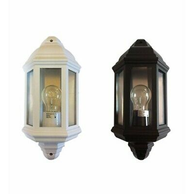 42 Watt Half Lantern External Wall Light, PL3 White or Black, Outdoors & Garden
