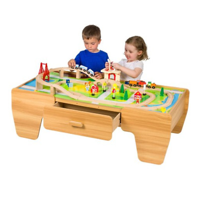 80 Piece Deluxe Children's Wooden Train Set with Table & Drawer
