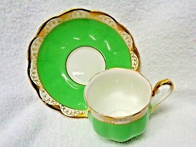 Royal Albert Green Surface Gold-Colored Filagree Edging Cup and Saucer