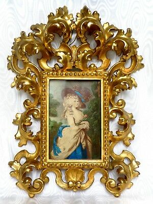 Antique Large French  Picture Frame Wood Carved Gilded