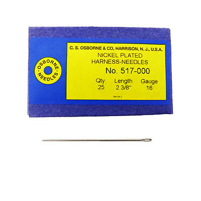 C.S. Osborne Pack Of 25 Harness Needles #517 (517-000) Size 000 Made In USA