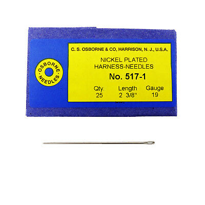 C.S. Osborne Pack Of 25 Harness Needles #517 (517-1) Size 1 Made In USA