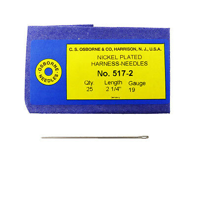 C.S. Osborne Pack Of 25 Harness Needles #517 (517-2) Size 2 Made In USA