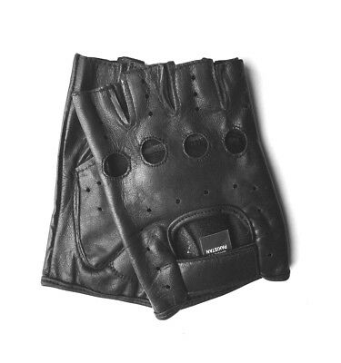 MEN'S BLACK LEATHER FINGERLESS DRIVING MOTORCYCLE BIKER GLOVES Work Out Exercise