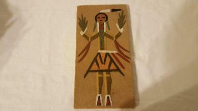 """Authentic Navajo Healing People Sand Painting Unframed Signed Small 8X4"""" Art"""