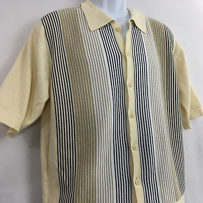 Nat Nast Large Short Sleeve Sweater Button Front Pale Yellow Stripe Spring