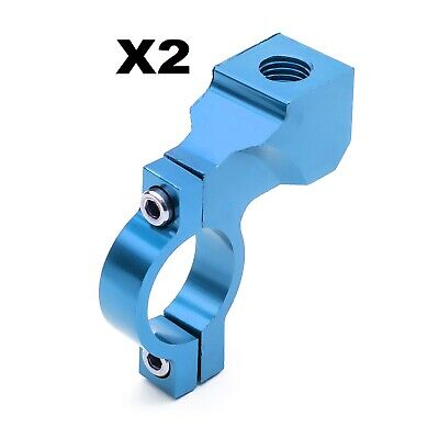2 Wing Side Mirror Clamp Bracket Blue CNC 22mm Pit Quad Bike Scooter Motor Cycle