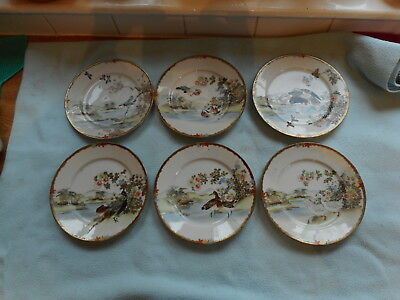 Set Of Six Japanese Hand Painted 18.5cm Plates Each Plate  Individual Art