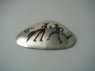 MID-CENTURY MODERN STERLING SILVER BROOCH PIN PENDANT ABALONE Taxco Mexico 1950s