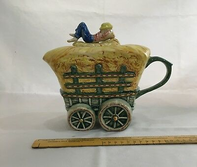 swineside-  the teapottery  haytwain  teapot  (hay cart)  l /e