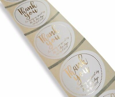 45Mm Custom Round Personalised Gold Foil Thank You Wedding Labels Stickers