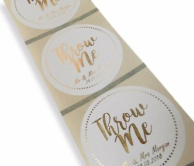 45Mm Personalised Gold Foil Throw Me Confetti Wedding Labels Stickers