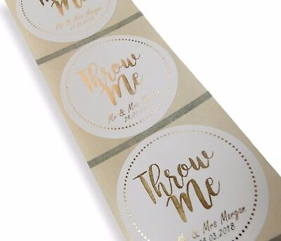 45Mm White Personalised Gold Foil Throw Me Confetti Wedding Labels Stickers