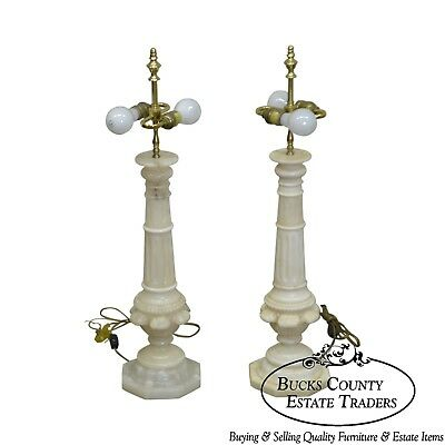 Quality Pair of Alabaster Marble Column Table Lamps