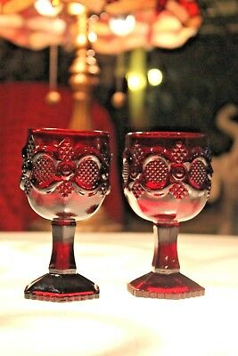 Avon 1876 Cape Cod Ruby Red WINE GLASS GOBLET Cordial Set/2 ~ (MULTIPLES)