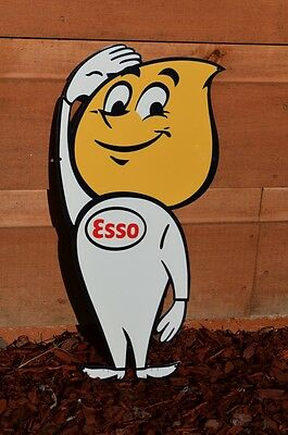 """Old Style 24"""" Esso Motor Oil Drop Boy Thick Steel Sign Super Esso Piece Usa Made"""