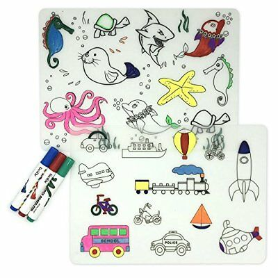 LONGFITE Coloring Kids Placemats Doodle Fun Pad FDA Silicone Table Mat Drawing P
