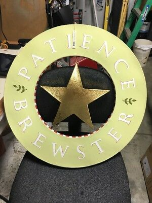 "Patience Brewster Display Sign 24"" Diameter Free Ship CONUS."