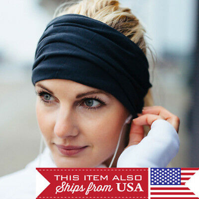 Women Lady Wide Sports Yoga Headband Stretch Hairband Elastic Hair Band Turban