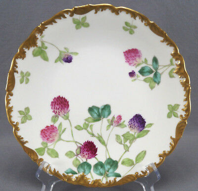 Set of 6 T & V Limoges Clover Flowers & Gilt Dinner Plates Circa 1907 - 1919