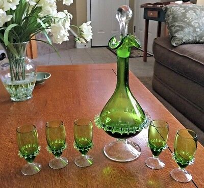 Antique Decanter Czech Bohemian Art Glass Pinched & Crimped 5 Glasses