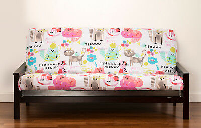 Purrty Cat Pink Blue Cats With White Yellow Meow Sis Futon Cover Choose Size