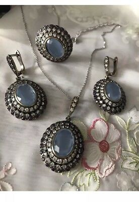 Gorgeous Antique Vintage Oval  Topaz, Sapphire  And Amethyst 925 Silver Set.